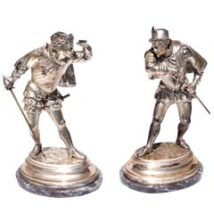 Emile Guillemen Two Cavaliers Silvered Bronze