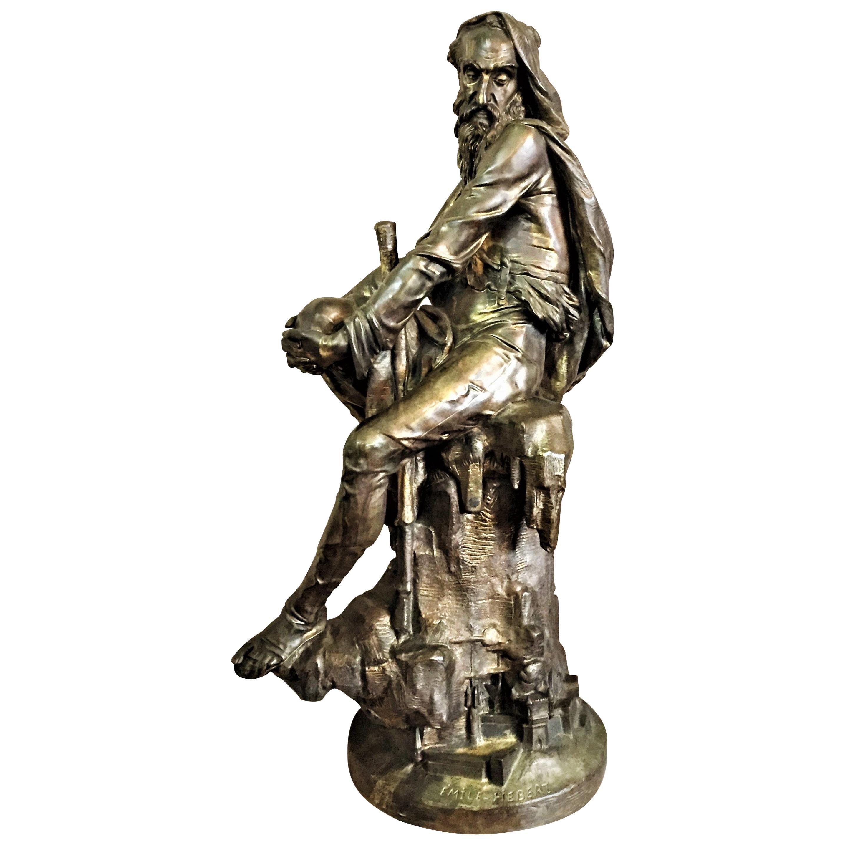 Émile Hébert, the Wanderer, Belle Époque Patinated Bronze Sculpture, circa 1880s