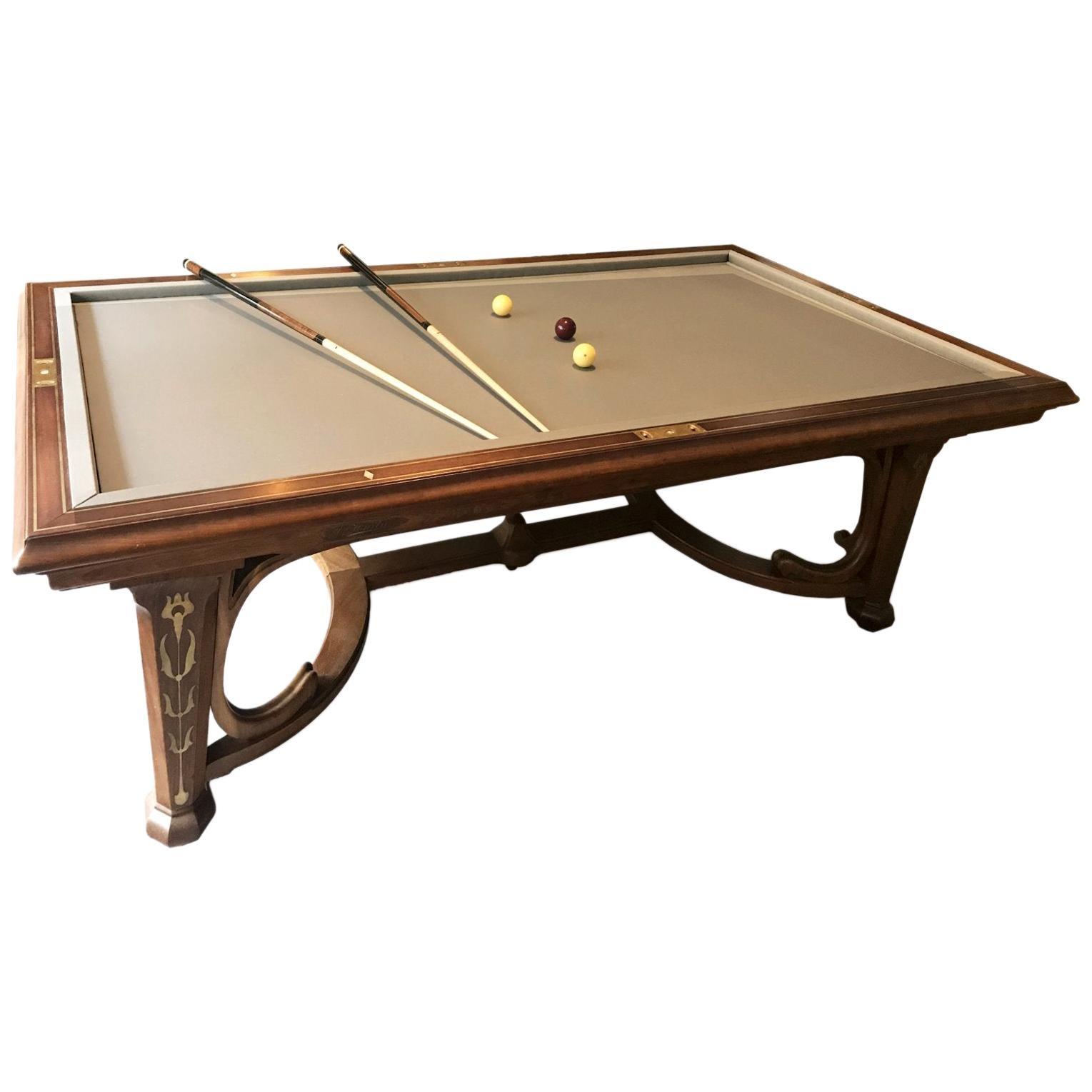 Emile Hurtre an Art Nouveau Billiard Table Made by E. Gueret Médaille d'Or, 1889