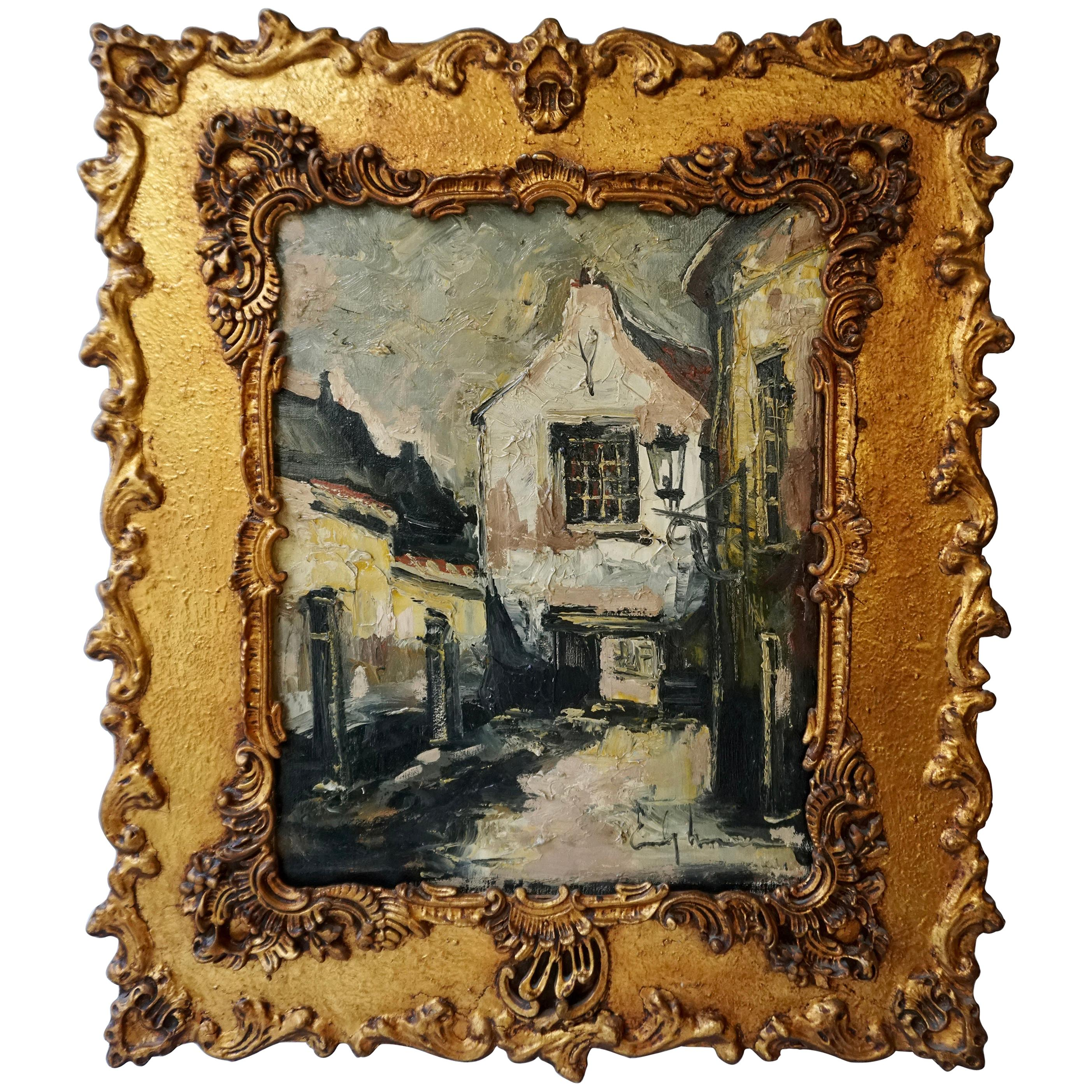 Emile Lammers 20th Century Oil, Canvas Belgian Impressionist Cityscape Painting
