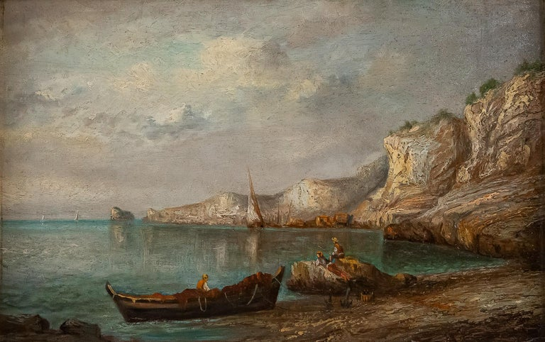 Oiled Emile Lapierre Oil on Panel French Fishing Landscape, circa 1850 For Sale