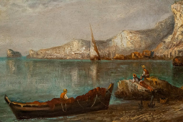 Mid-19th Century Emile Lapierre Oil on Panel French Fishing Landscape, circa 1850 For Sale