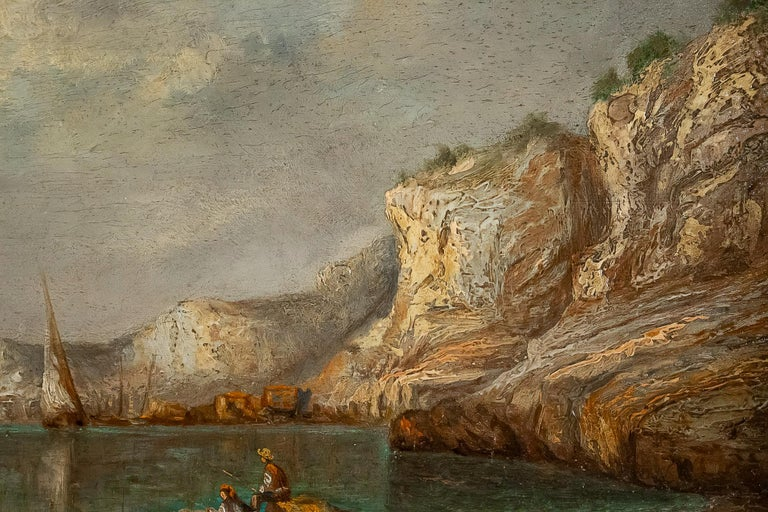 Walnut Emile Lapierre Oil on Panel French Fishing Landscape, circa 1850 For Sale