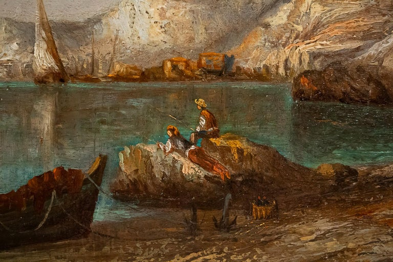 Emile Lapierre Oil on Panel French Fishing Landscape, circa 1850 For Sale 1