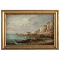Emile Lapierre Oil on Panel French Fishing Landscape, circa 1850