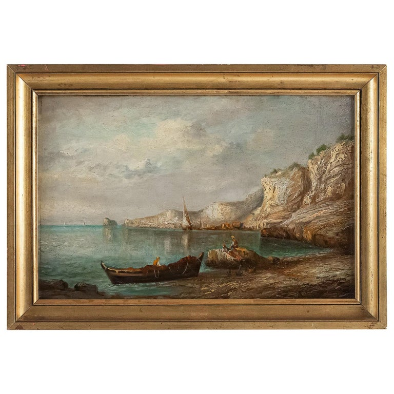 Emile Lapierre Oil on Panel French Fishing Landscape, circa 1850 For Sale