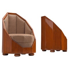 Emile Léon Bouchet Pair of Easy Chairs, Teak and Upholstery, Italy, circa 1925