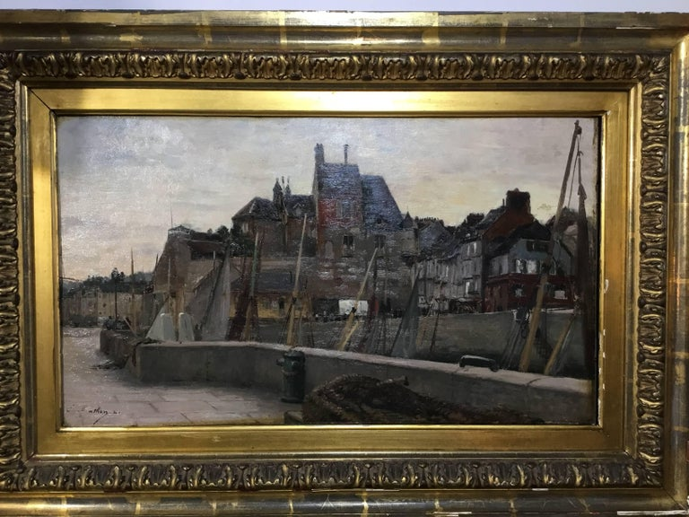 Beautiful oil painting on wood of maritime scene by the artist, Emile Louis Mathon is a French painter who was born in 19th century. Several works by the artist have been sold at auction, including 'The voyage from Malaga to Morocco before an
