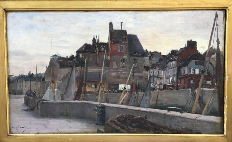 "French Emile Louis Mathon ""The Lieutenancy at Honfleur"" Oil Painting on Wood"