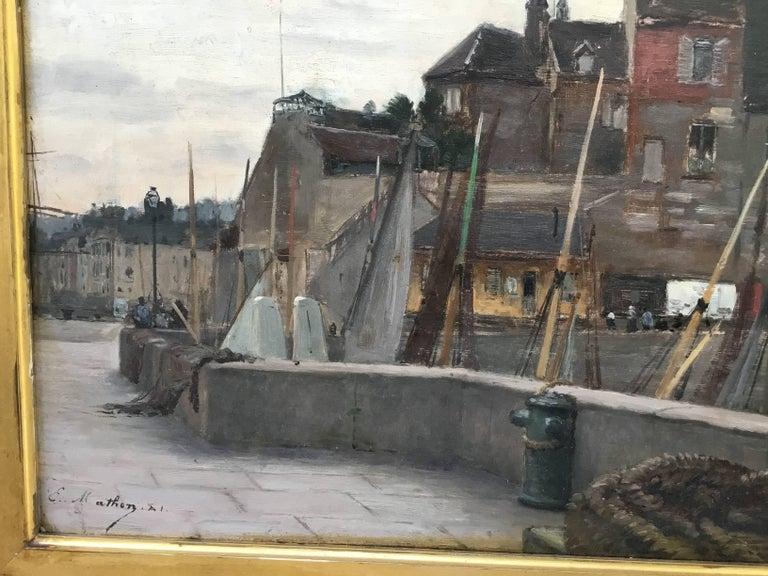 """19th Century Emile Louis Mathon """"The Lieutenancy at Honfleur"""" Oil Painting on Wood"""