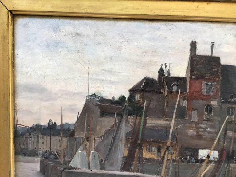 """Emile Louis Mathon """"The Lieutenancy at Honfleur"""" Oil Painting on Wood 1"""