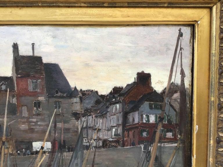 """Emile Louis Mathon """"The Lieutenancy at Honfleur"""" Oil Painting on Wood 2"""