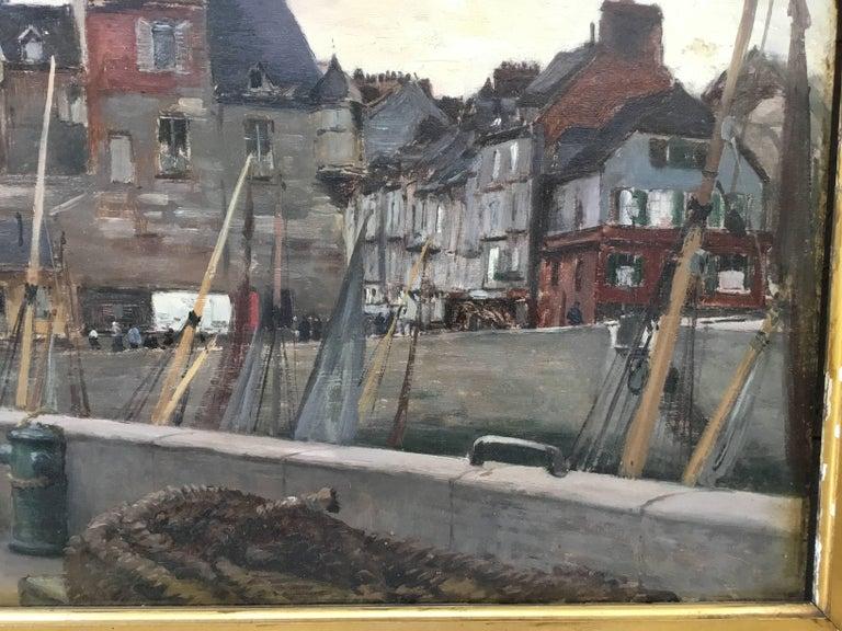 """Emile Louis Mathon """"The Lieutenancy at Honfleur"""" Oil Painting on Wood 3"""