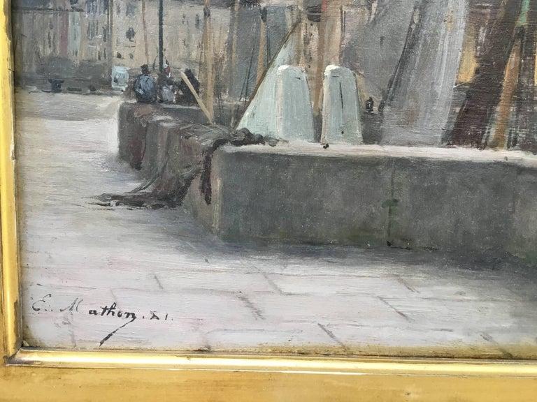 """Emile Louis Mathon """"The Lieutenancy at Honfleur"""" Oil Painting on Wood 4"""