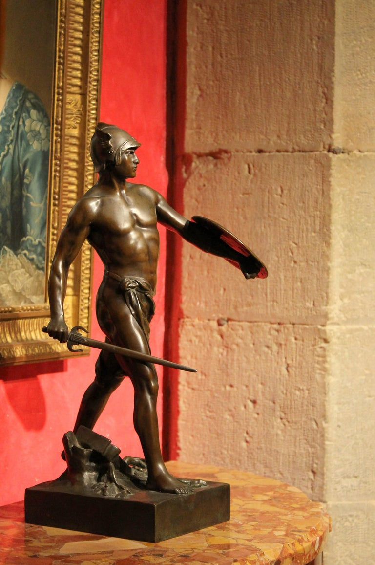 Antique French Burnished Bronze figurative Sculpture of a Gallic Warrior For Sale 7
