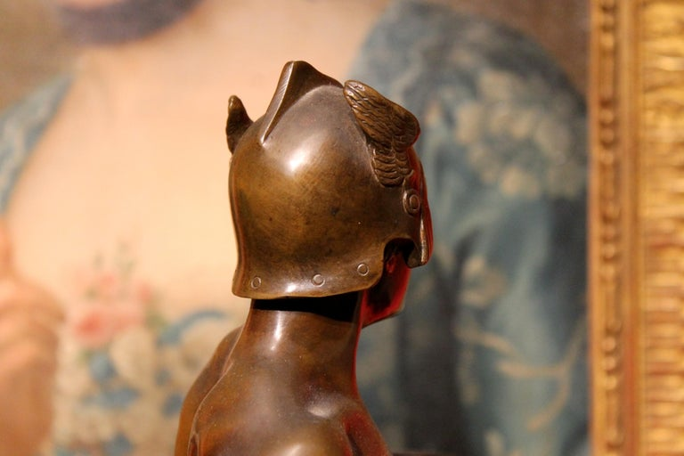 Antique French Burnished Bronze figurative Sculpture of a Gallic Warrior For Sale 8