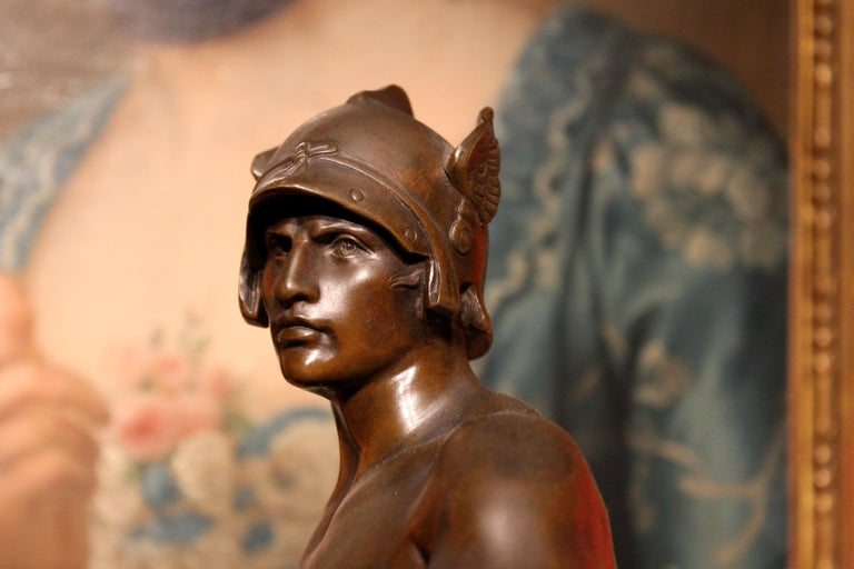 Antique French Burnished Bronze figurative Sculpture of a Gallic Warrior For Sale 9