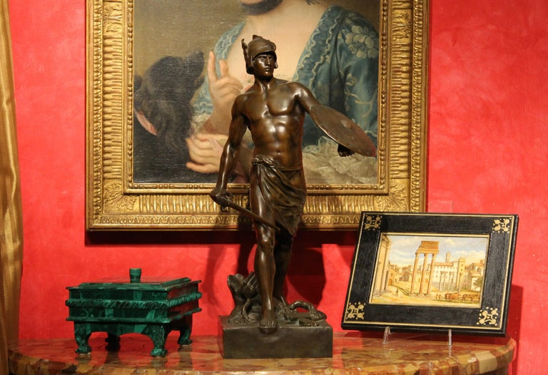 Antique French Burnished Bronze figurative Sculpture of a Gallic Warrior For Sale 10