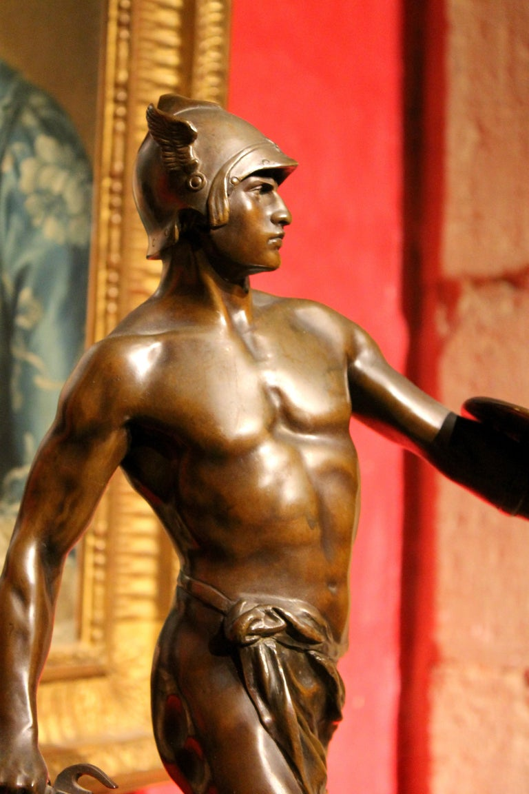 Antique French Burnished Bronze figurative Sculpture of a Gallic Warrior For Sale 11