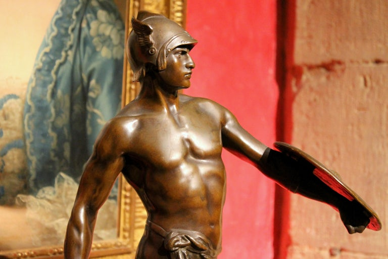 Antique French Burnished Bronze figurative Sculpture of a Gallic Warrior For Sale 12