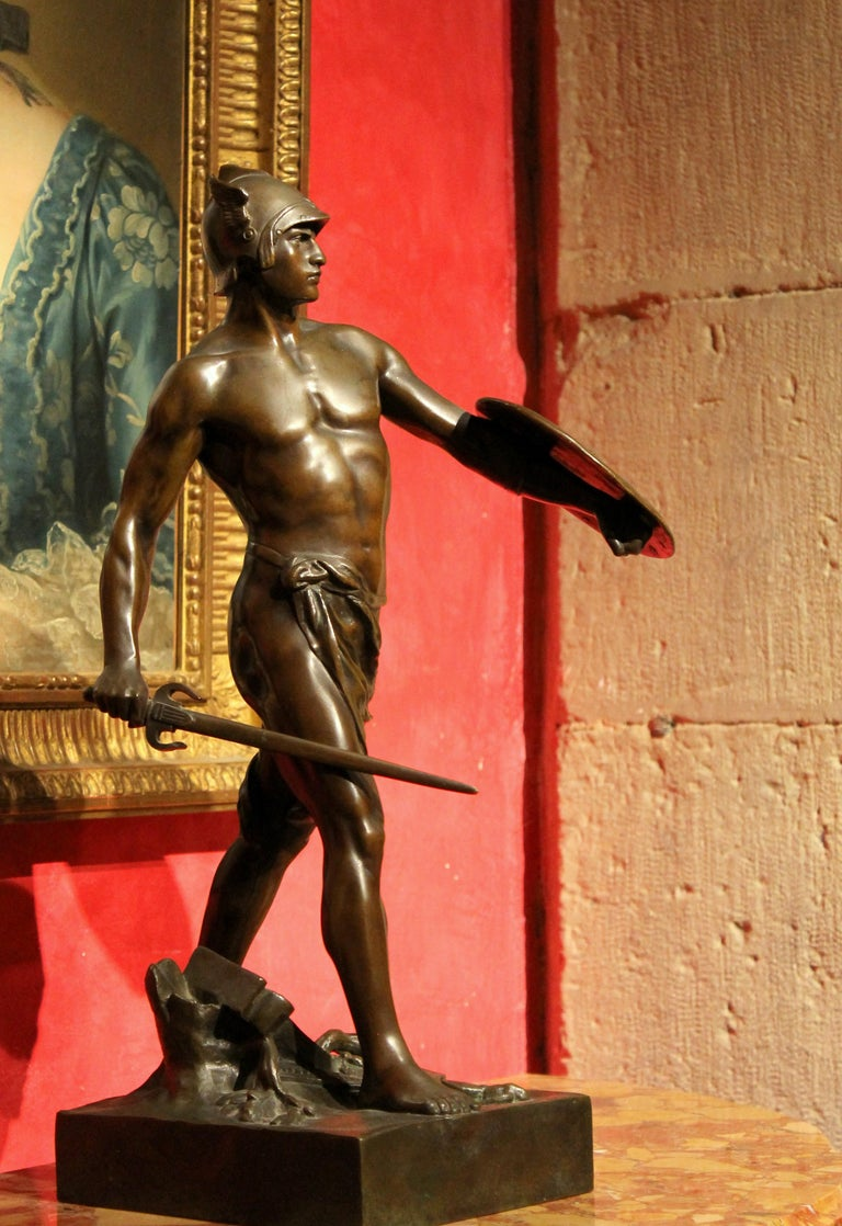 Antique French Burnished Bronze figurative Sculpture of a Gallic Warrior For Sale 13