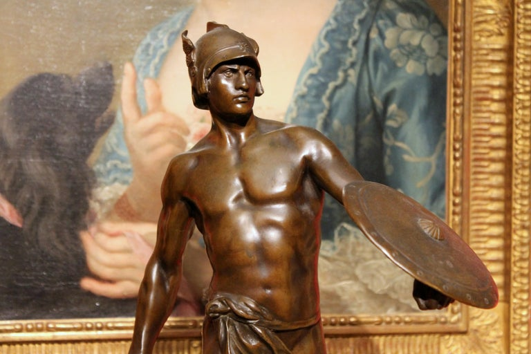 Antique French Burnished Bronze figurative Sculpture of a Gallic Warrior For Sale 14