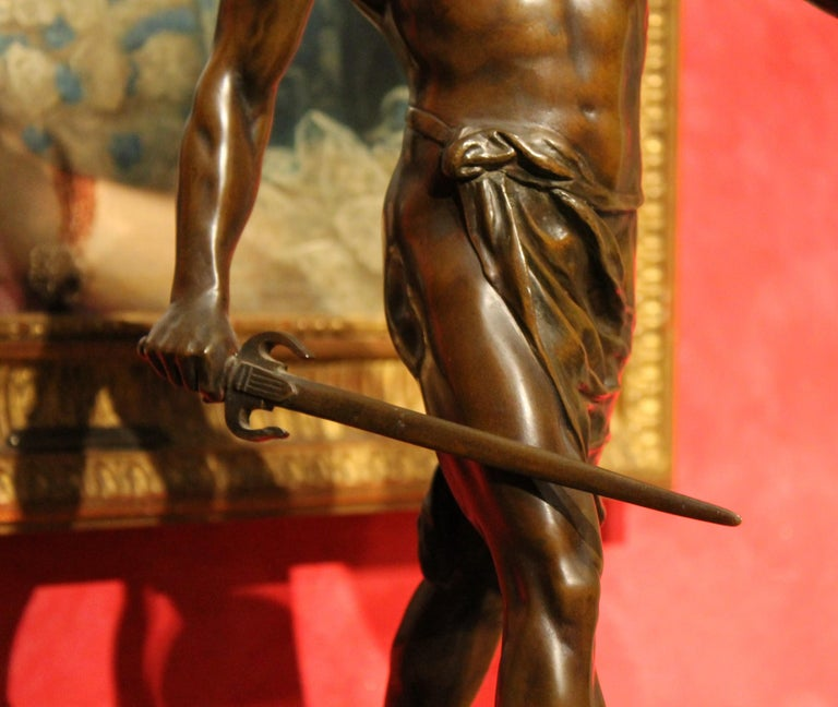 Antique French Burnished Bronze figurative Sculpture of a Gallic Warrior For Sale 15