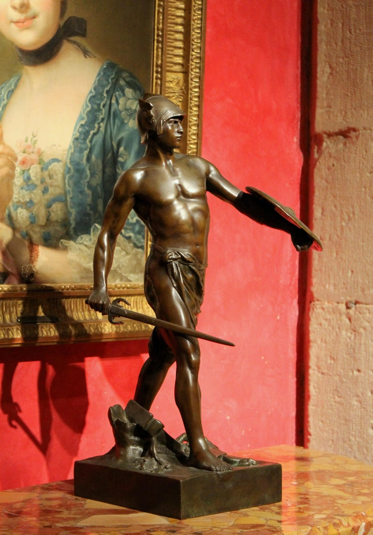 Antique French Burnished Bronze figurative Sculpture of a Gallic Warrior - Gold Figurative Sculpture by Émile Louis Picault
