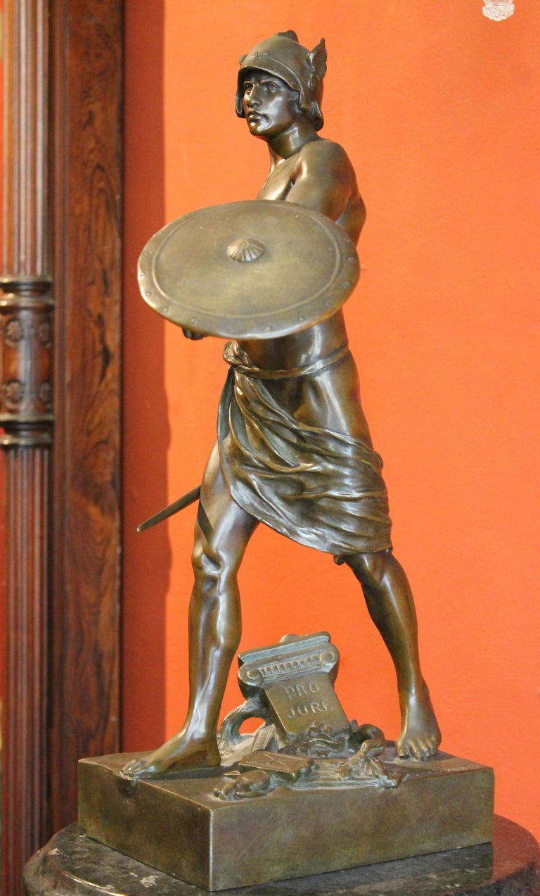 Antique French Burnished Bronze figurative Sculpture of a Gallic Warrior For Sale 1