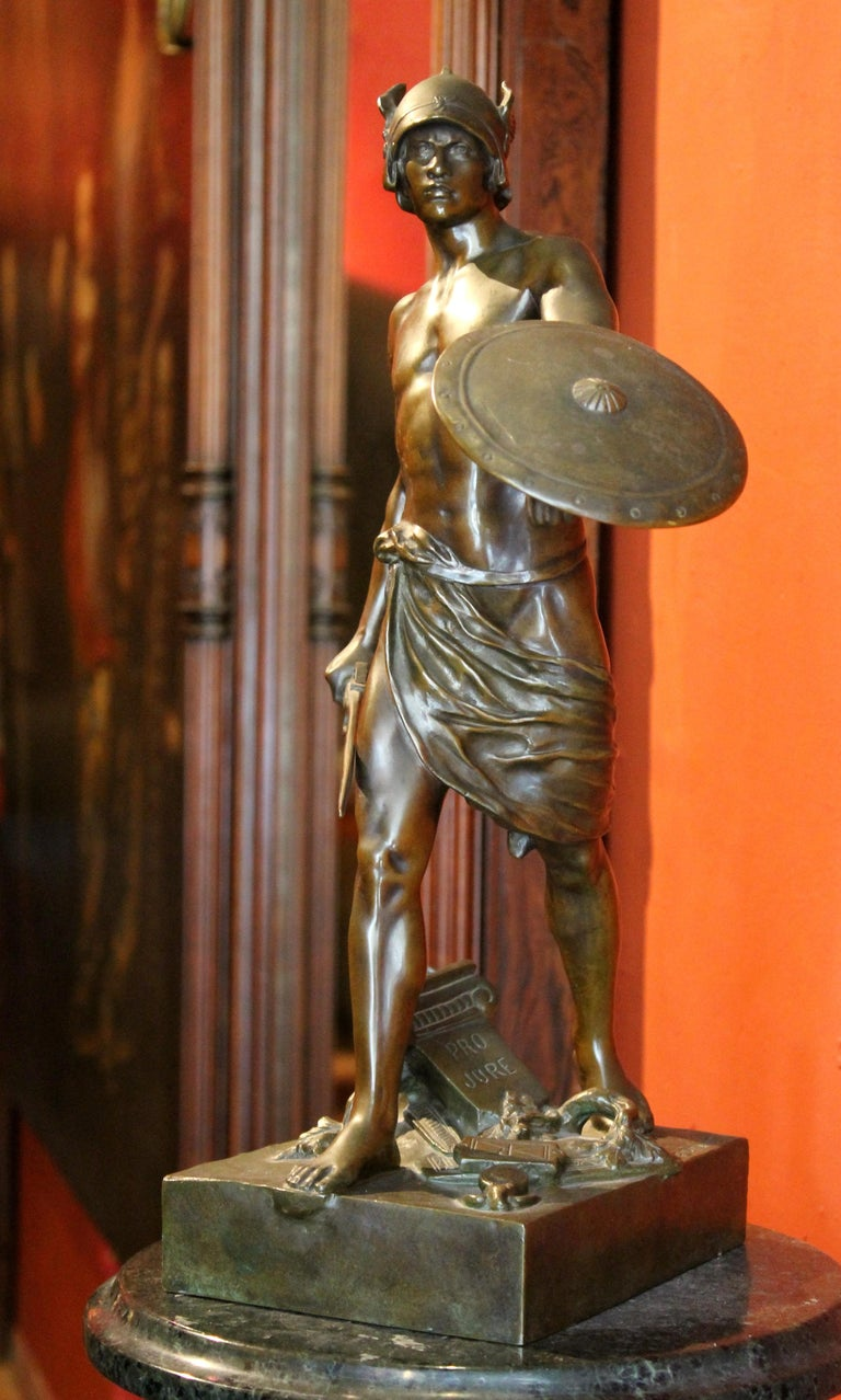 Antique French Burnished Bronze figurative Sculpture of a Gallic Warrior For Sale 2