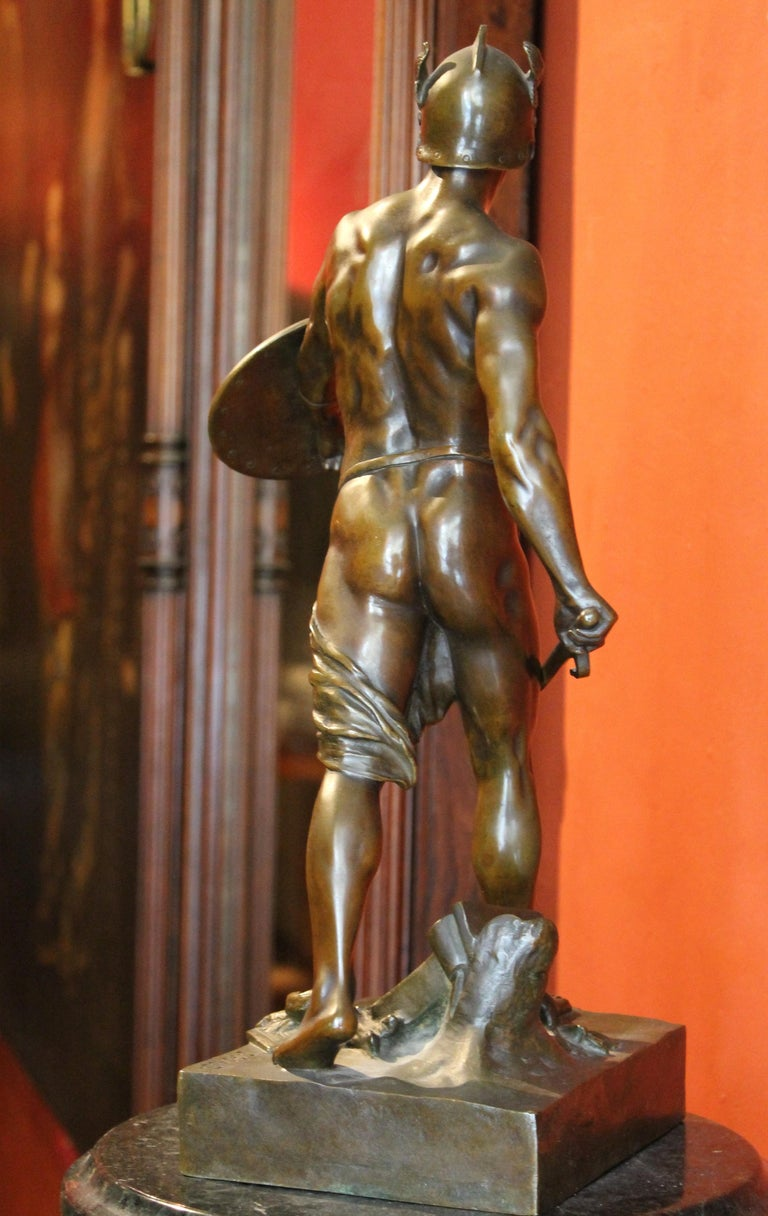 Antique French Burnished Bronze figurative Sculpture of a Gallic Warrior For Sale 3