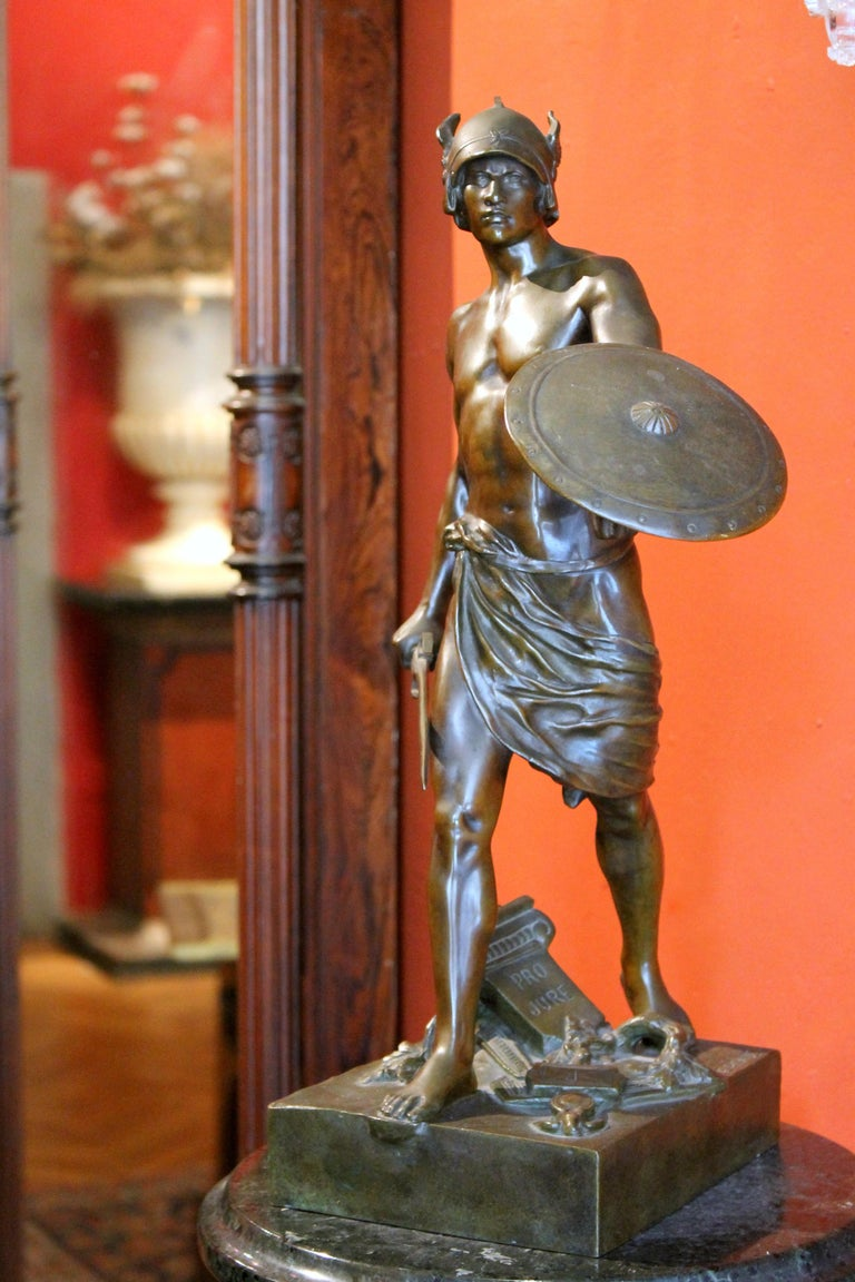 Antique French Burnished Bronze figurative Sculpture of a Gallic Warrior For Sale 4