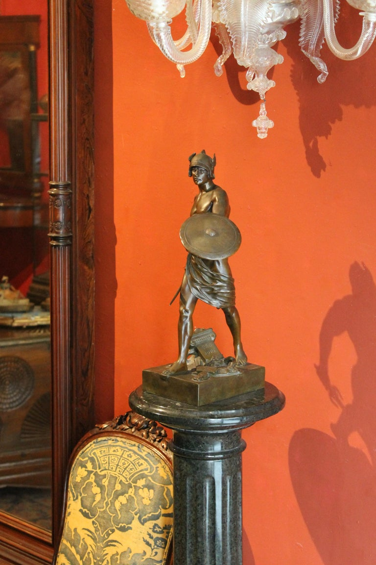 Antique French Burnished Bronze figurative Sculpture of a Gallic Warrior For Sale 5