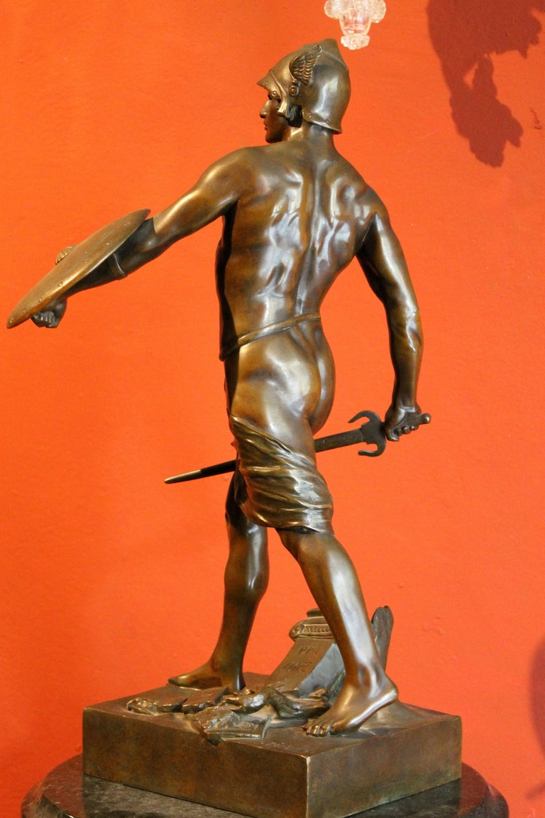 Antique French Burnished Bronze figurative Sculpture of a Gallic Warrior For Sale 6