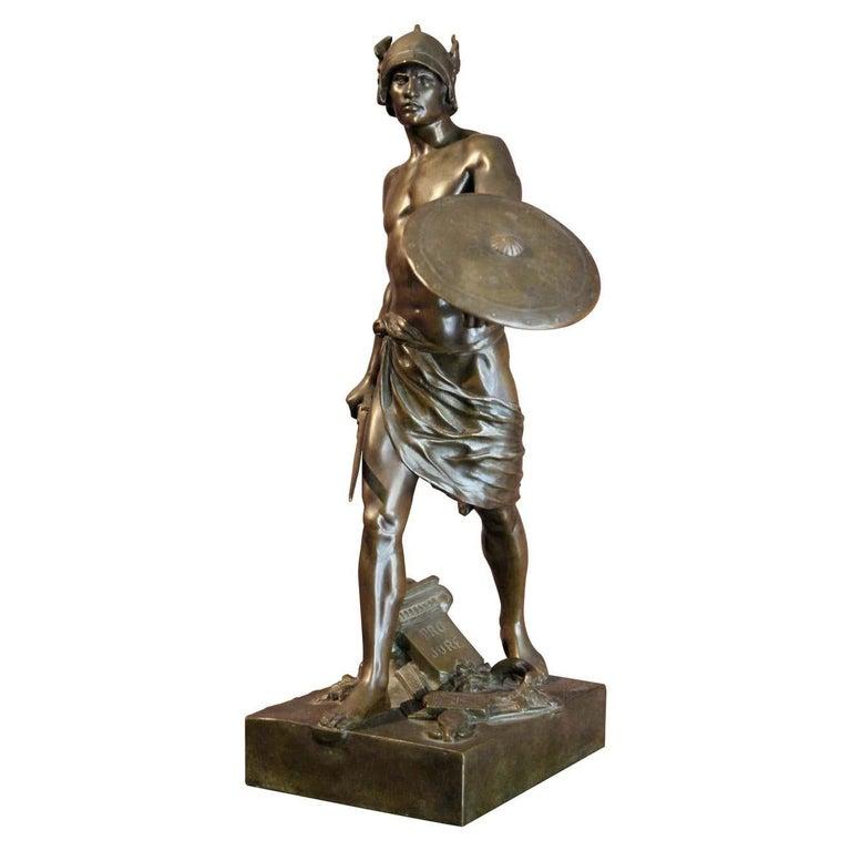 Émile Louis Picault Figurative Sculpture - Antique French Burnished Bronze figurative Sculpture of a Gallic Warrior