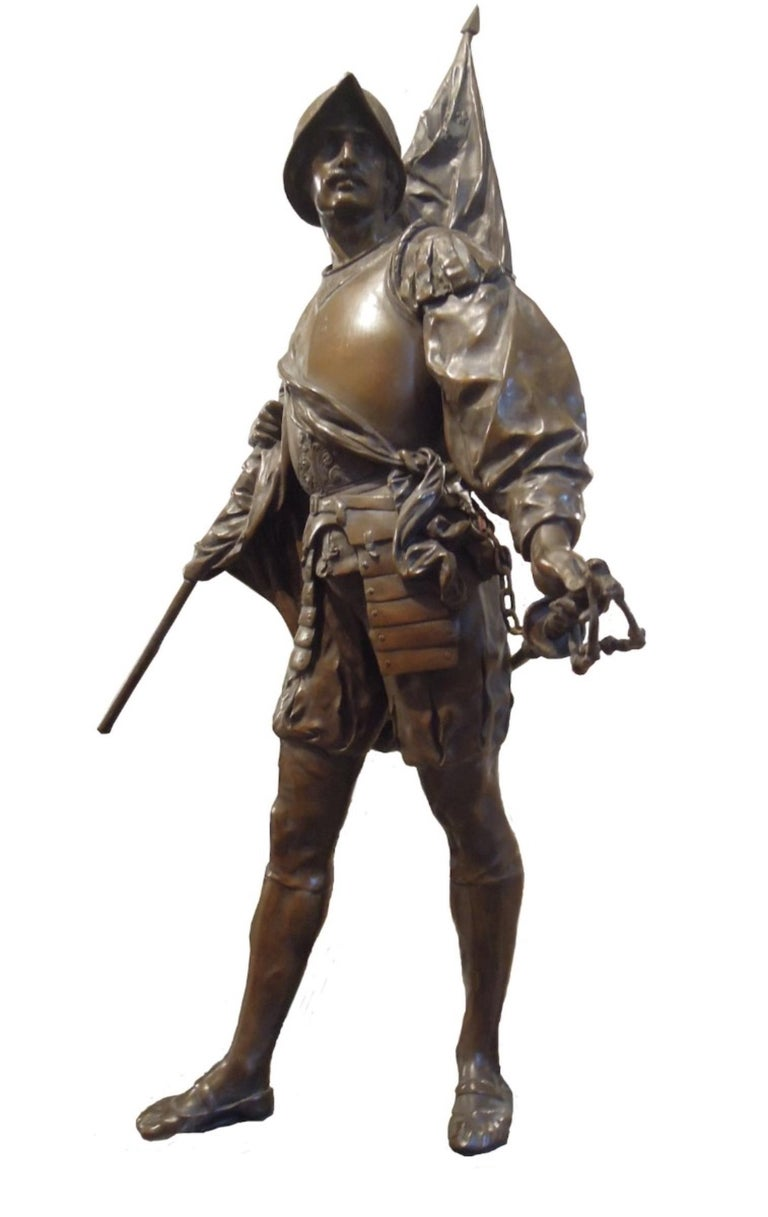 """Conquistadores is an original bronze sculpture realized by the Émile Louis Picault in 1900 ca.  Signature """"E.Picault"""" on the base.  Piece in very good conditions.  Émile Louis Picault was a French sculptor, best known for works with mythological,"""