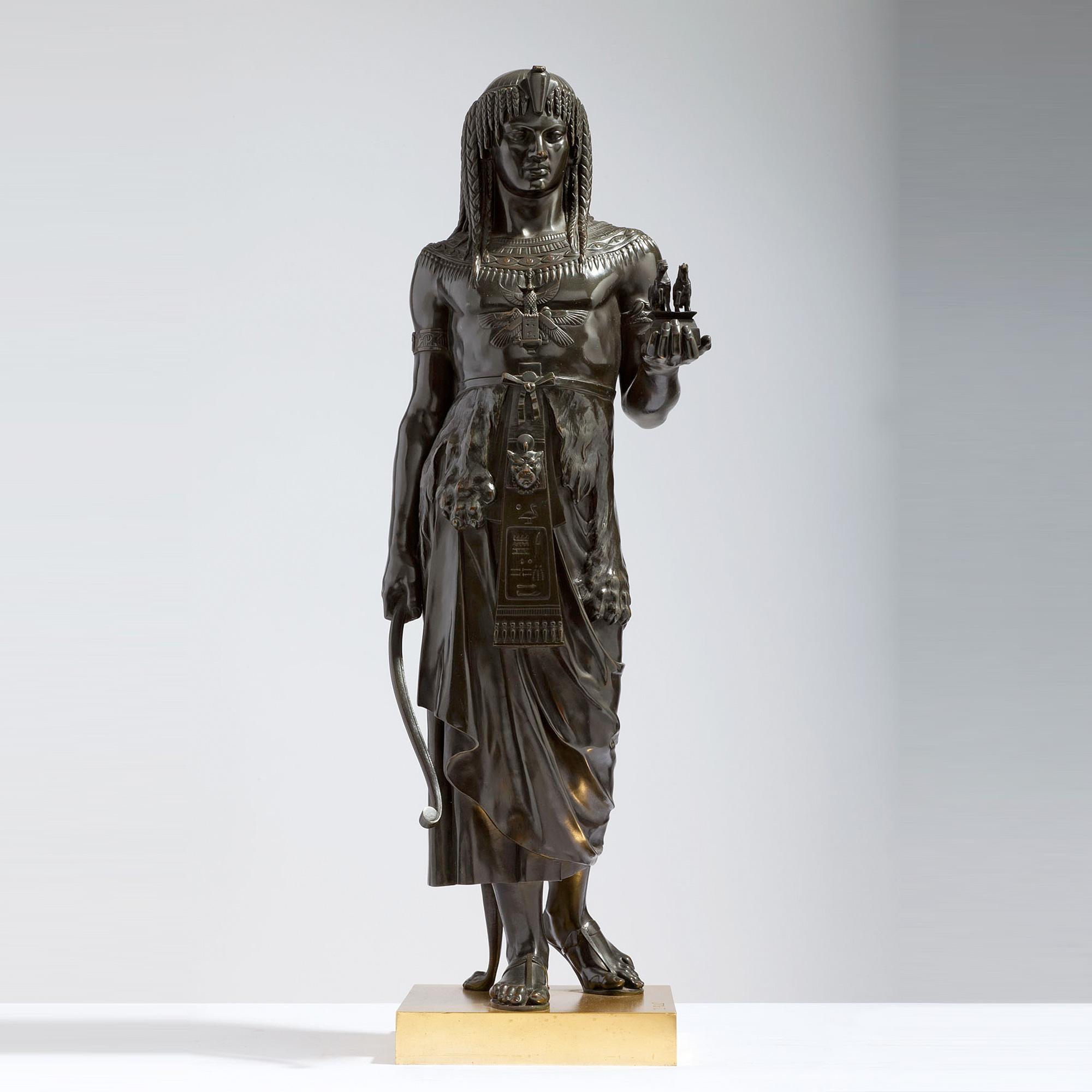 A fine Émile Louis Picault Patinated Bronze Statue of King Menthuophi