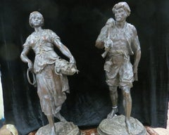 Pair Bronzes Statue's Signed By E. Picault 19 Century