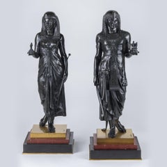Pair of Figural Sculptures of King Menthuophi and Queen Nitocris