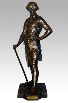 19th Century French bronze sculpture of a labourer
