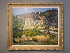 'Olive Groves' Rural French Landscape painting of trees, cottage & greenery