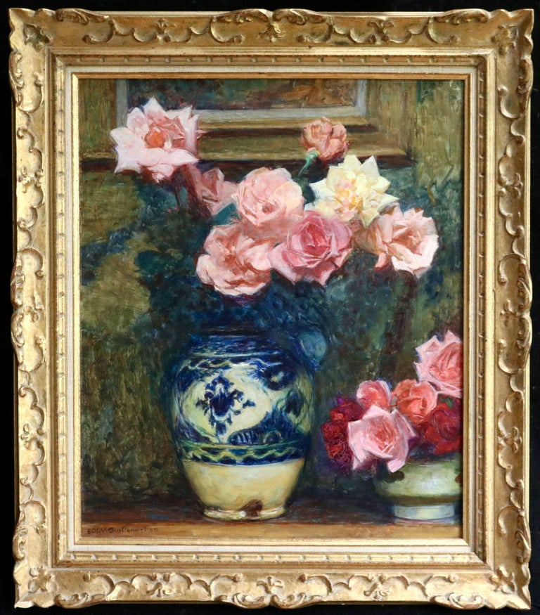Fleurs - 20th Century Oil, Vase of Rose Flowers in Interior by Octave Guillonnet 1