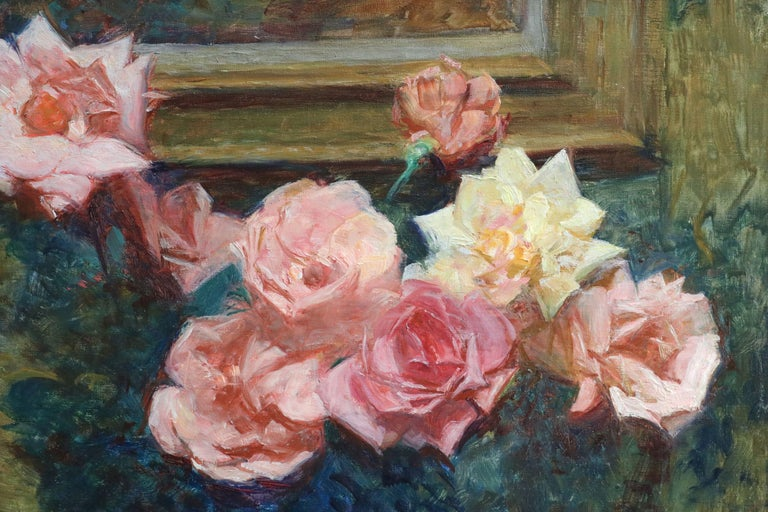 Fleurs - 20th Century Oil, Vase of Rose Flowers in Interior by Octave Guillonnet 2
