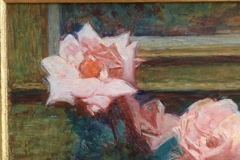 Fleurs - 20th Century Oil, Vase of Rose Flowers in Interior by Octave Guillonnet 3