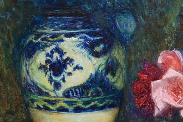 Fleurs - 20th Century Oil, Vase of Rose Flowers in Interior by Octave Guillonnet 4