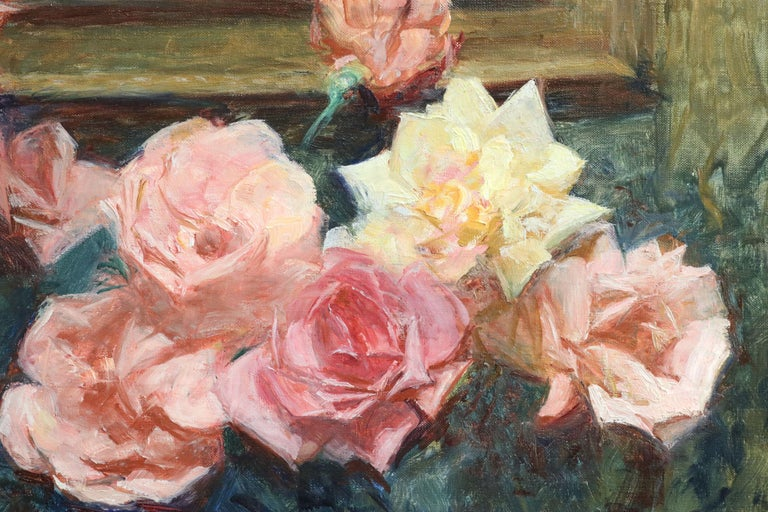 Fleurs - 20th Century Oil, Vase of Rose Flowers in Interior by Octave Guillonnet 6