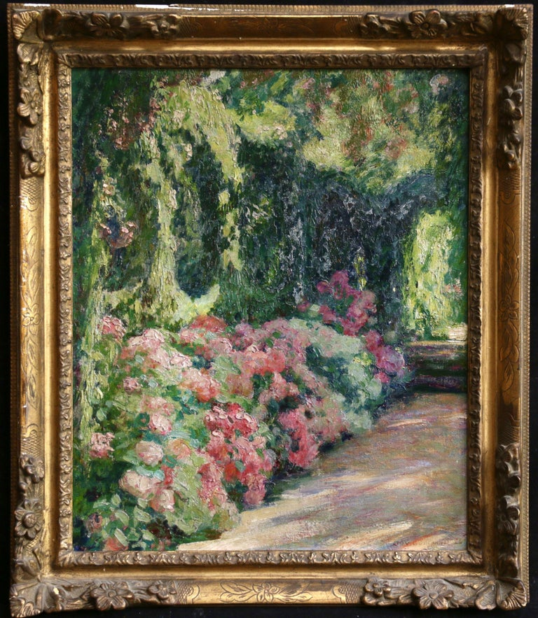 Jardin Fleuri - 19th Century Oil, Flowers in Garden Landscape by O Guillonnet - Painting by EMILE OCTAVE DENIS VICTOR GUILLONNET