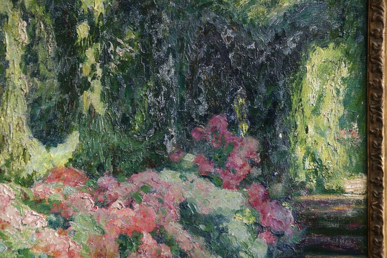 Jardin Fleuri - 19th Century Oil, Flowers in Garden Landscape by O Guillonnet - Gray Landscape Painting by EMILE OCTAVE DENIS VICTOR GUILLONNET