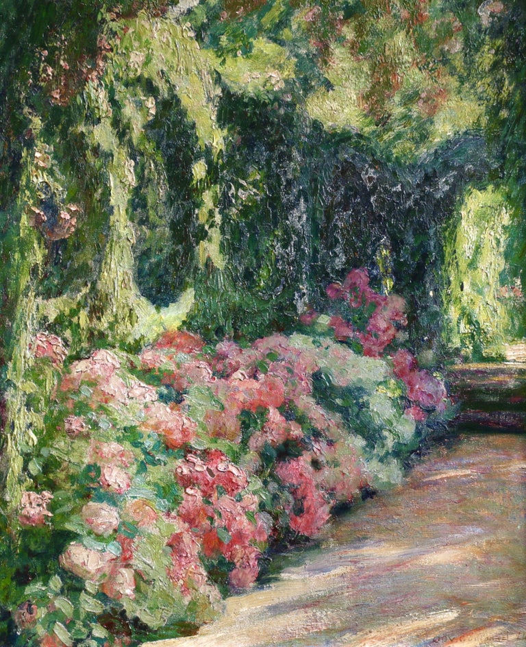Emile-Octave-Denis-Victor Guillonnet - Jardin Fleuri - 19th Century ...