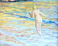 The Bather - 19th Century Oil, Nude Figure in the Sea Landscape by Guillonet